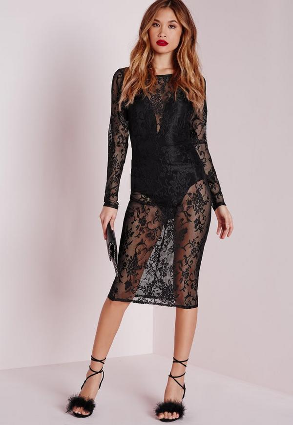 Sheer Lace Midi Dress Black