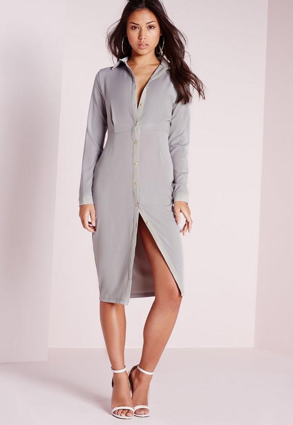 Button Front Long Sleeve Midi Dress Grey