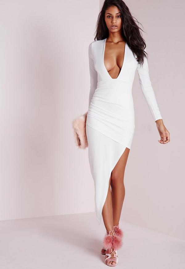 Sleeve white long plus dress bodycon