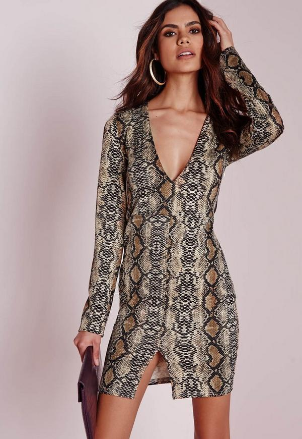 Long Sleeve Plunge Bodycon Dress Snake