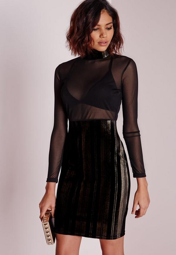 Foiled Mesh Midi Dress Black