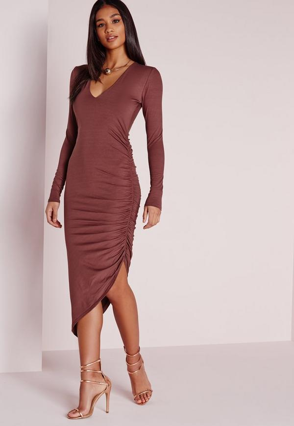 Ruched Side Midi Dress Raspberry