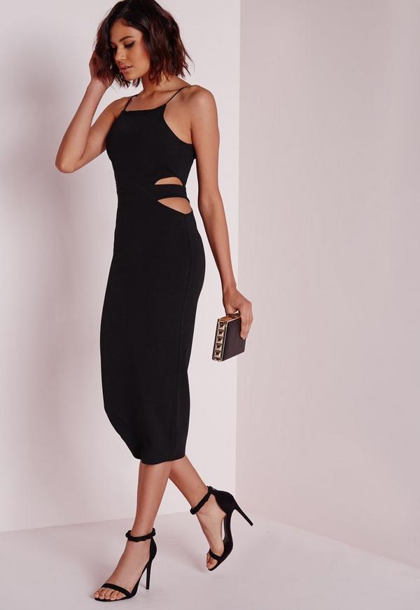 Cut Out Side Midi Dress Black