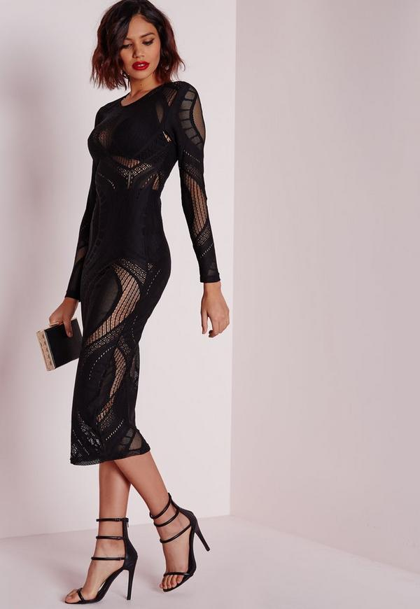 Sheer Lace Swirl Midi Dress Black
