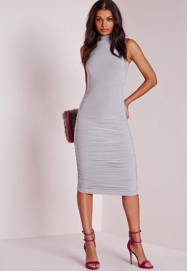 Slinky High Neck Ruched Midi Dress Grey