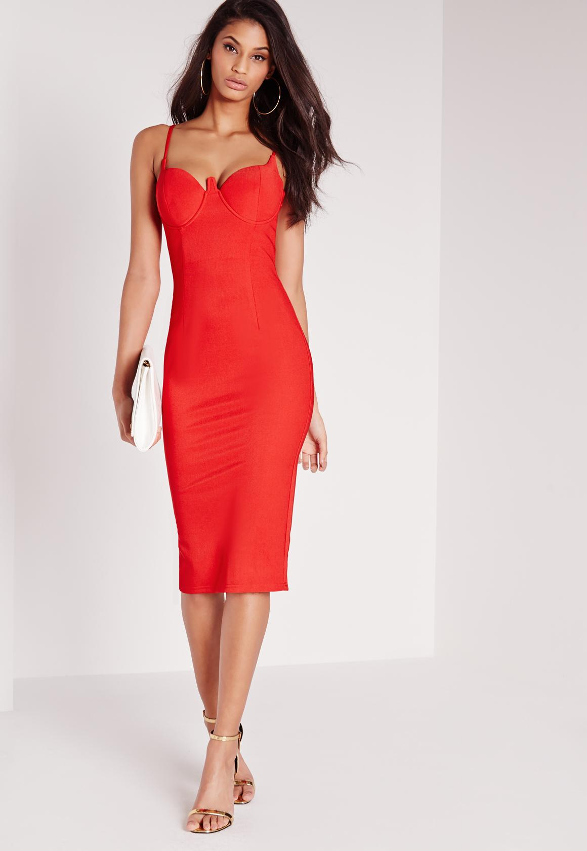 Strappy Bustier Bodycon Dress Red - Dresses - Midi Dresses ...