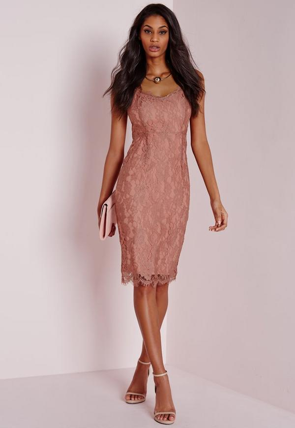 Strappy Lace Midi Dress Dusky Pink