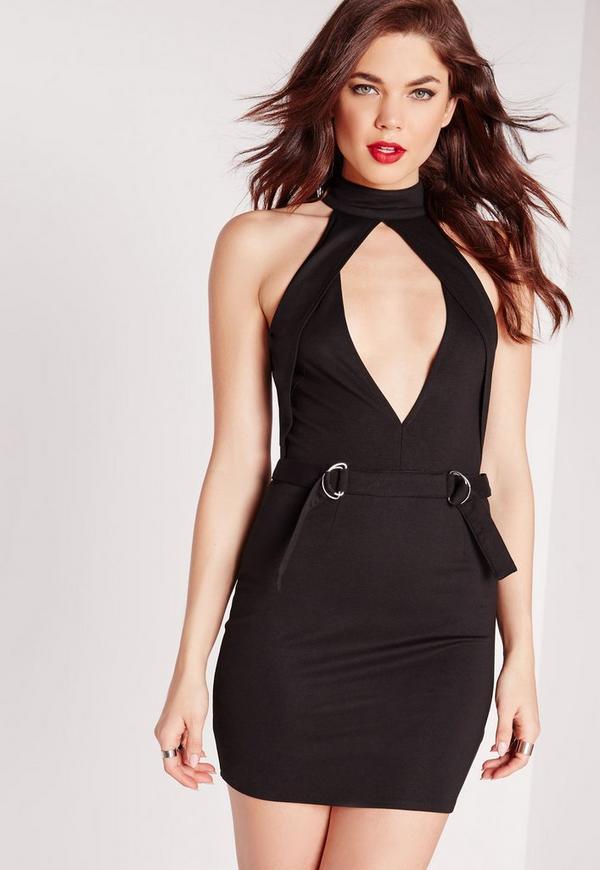 Keyhole Buckle Detail Bodycon Dress Black