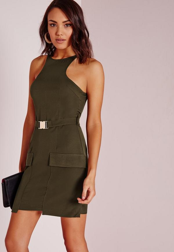 Buckle Detail Shift Dress Khaki