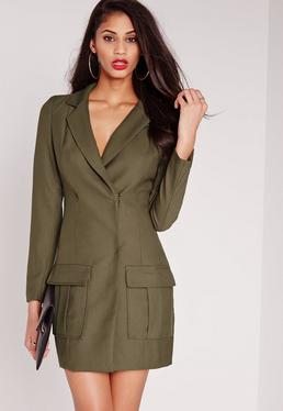 Pocket Detail Blazer Dress Khaki