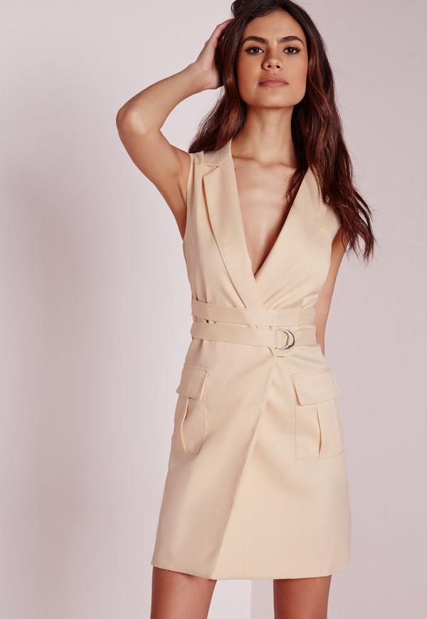 Sleeveless Blazer Dress Nude