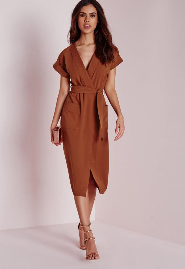 Wrap Tie Waist Pocket Midi Dress Rust