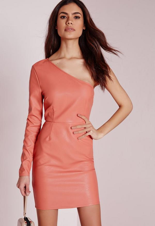 Faux Leather One Shoulder Bodycon Dress Pink
