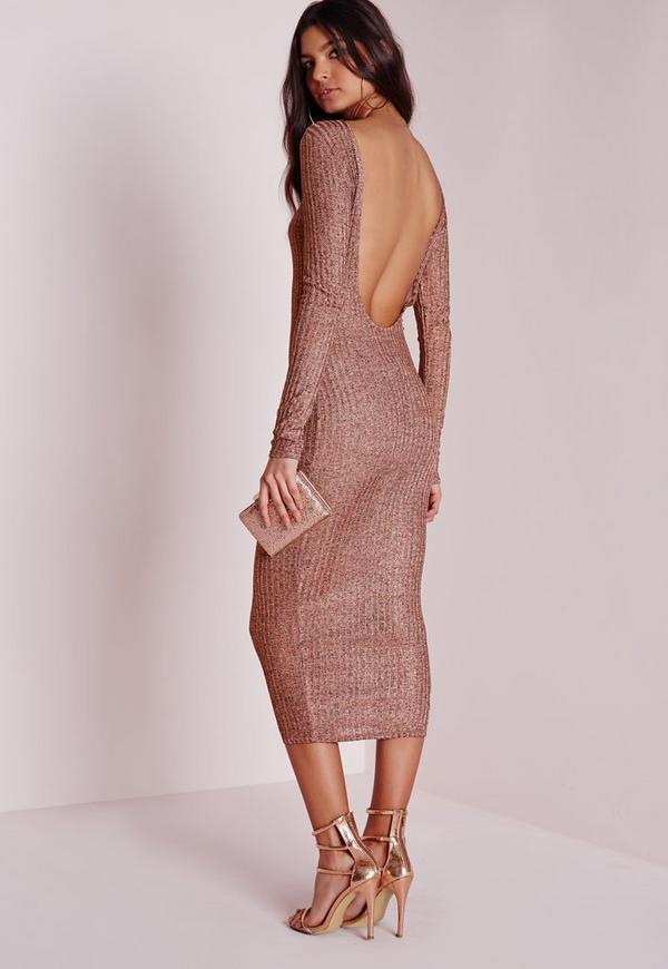 Sheer Knitted Low Back Midi Dress Pink