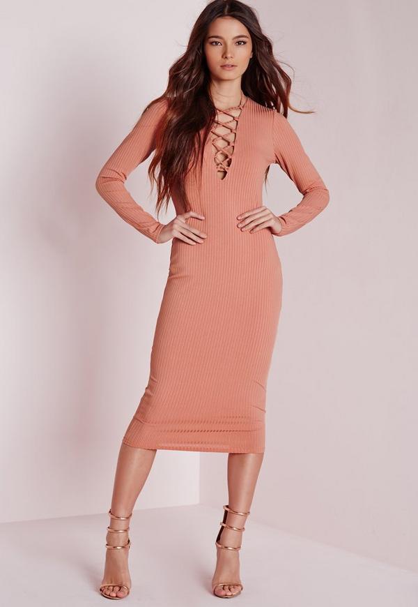 Ribbed Long Sleeve Lace Up Midi Dress Pink