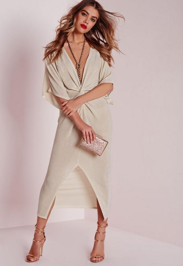 Kimono Sleeve Knot Front Midi Dress Nude