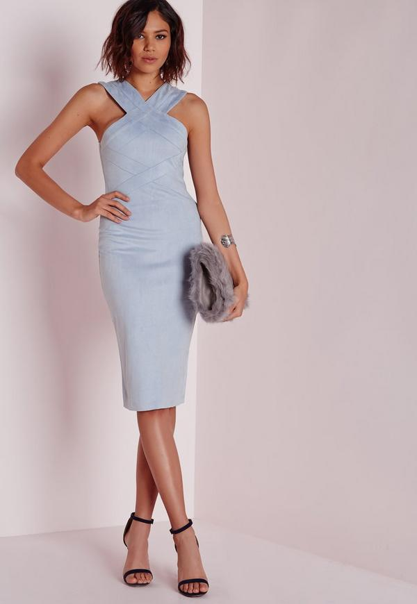 Suede Midi Dress with Neck Detail Powder Blue