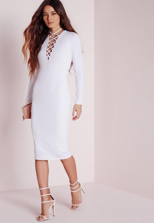 Ribbed Long Sleeve Lace Up Midi Dress White
