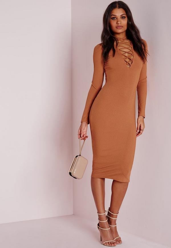 Ribbed Long Sleeve Lace Up Midi Dress Tan