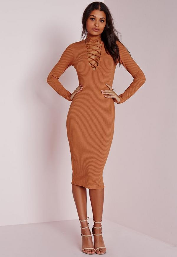 ribbed long sleeve lace up midi dress tan missguided