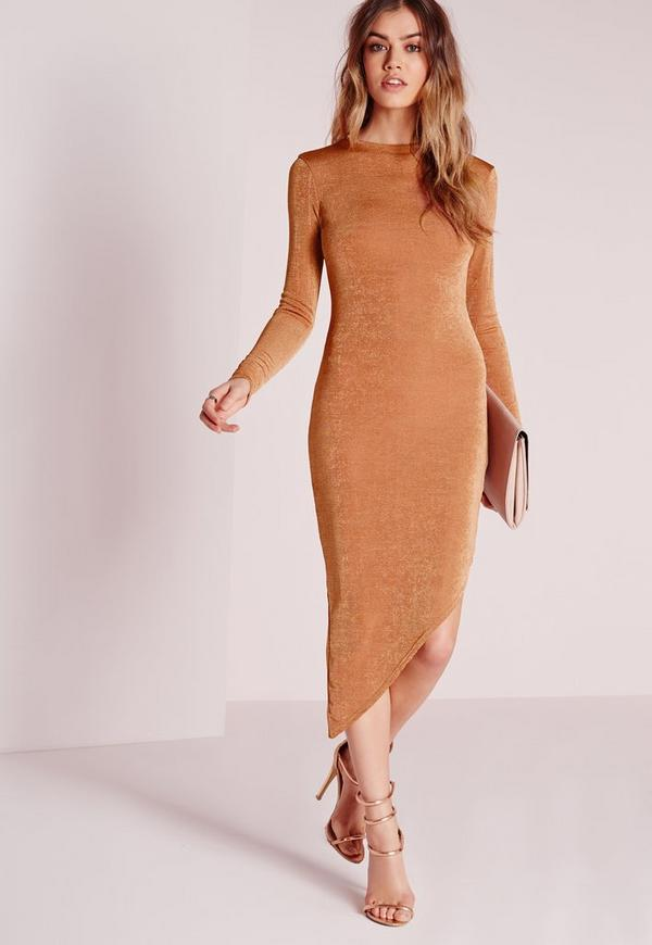 Long Sleeve Asymmetric Midi Dress Bronze