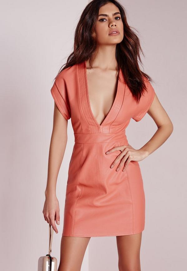 Faux Leather Bodycon Dress Pink