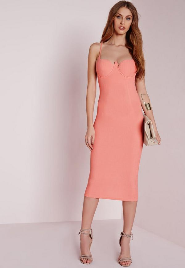 Strappy Bodycon Bustier Dress Pink