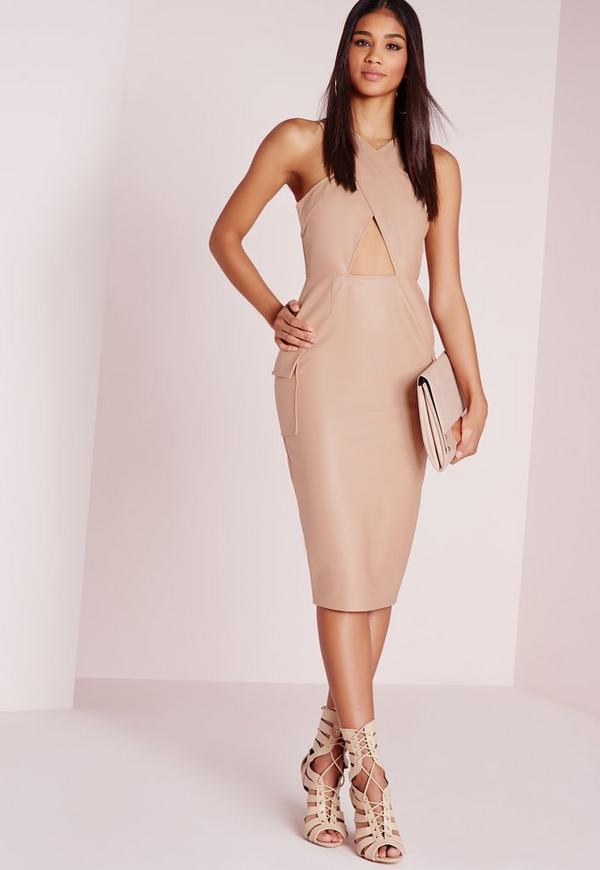 Faux Leather Cross Over Midi Dress Nude