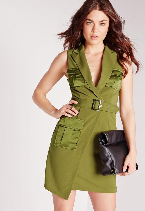 Utility Style Sleeveless Blazer Dress Olive Green