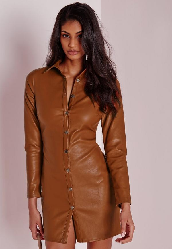 Faux Leather Fitted Shirt Dress Tan