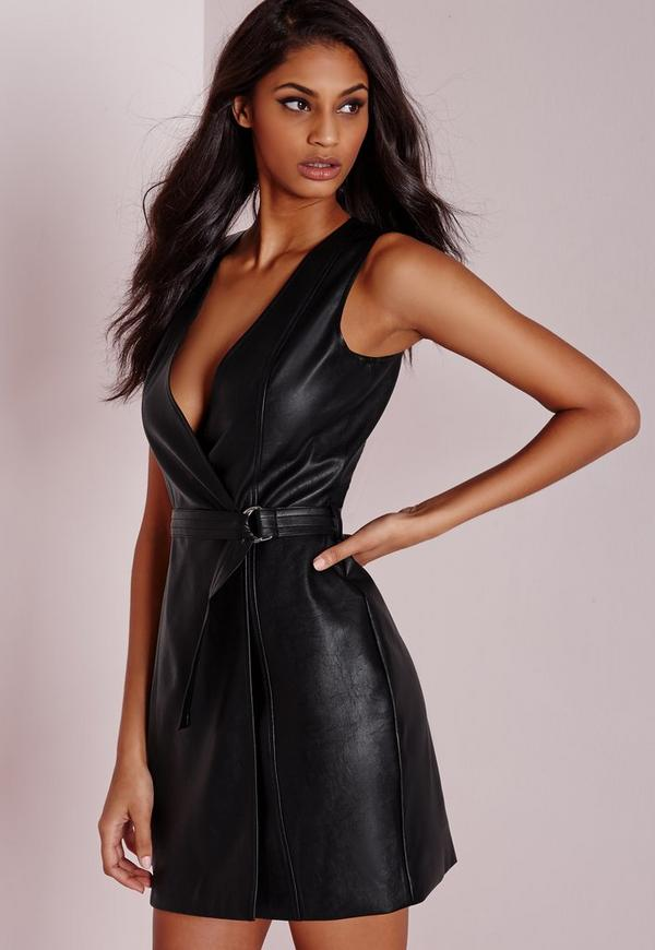 Plunge Wrap Shift Dress Black