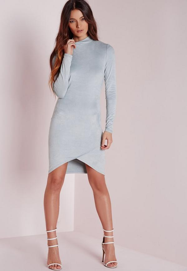 Long Sleeve Faux Suede Bodycon Dress Blue