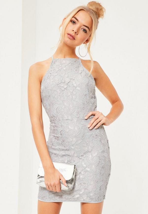 Lace Square Neck Bodycon Dress Grey | Missguided