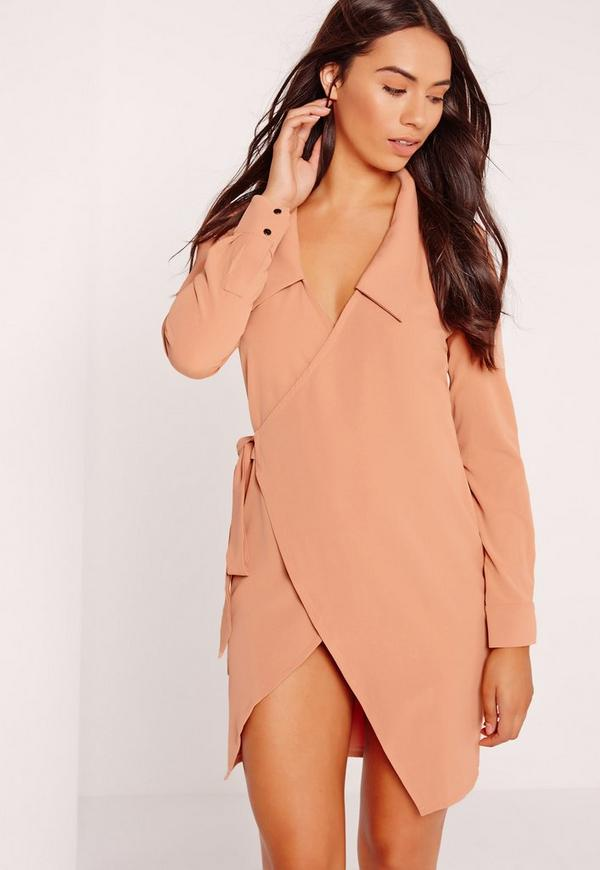 Wrap Waist Long Sleeve Shirt Dress Nude