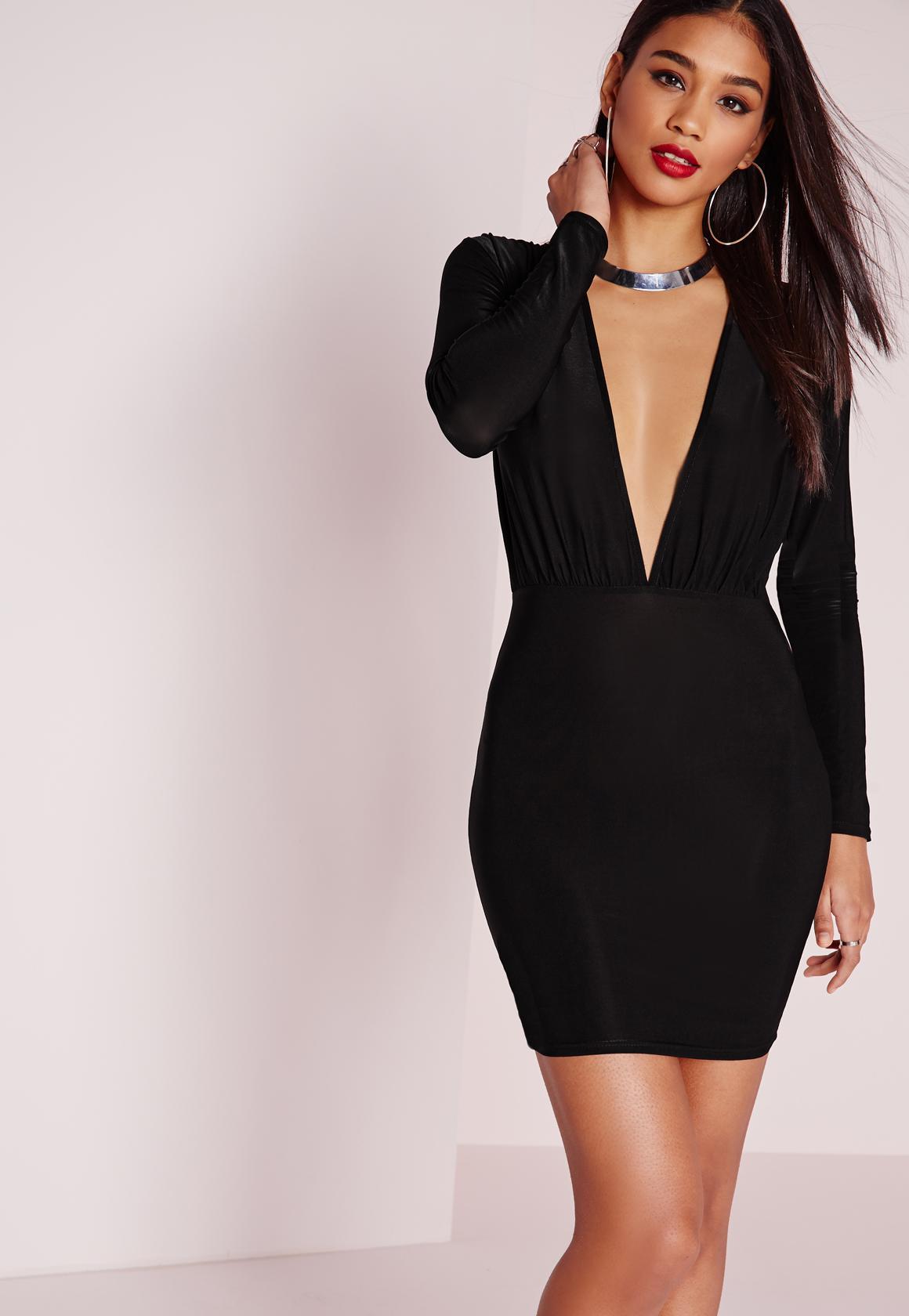 Slinky Long Sleeve Bodycon Dress Black