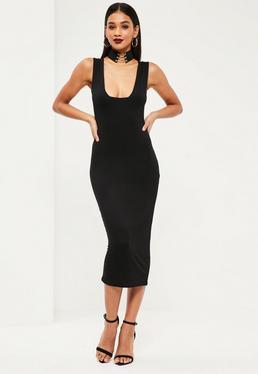 Czarna sukienka za kolano z dżerseju z kwadratowym dekoltem