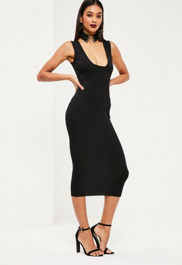Jersey Square Bust Midi Dress Black
