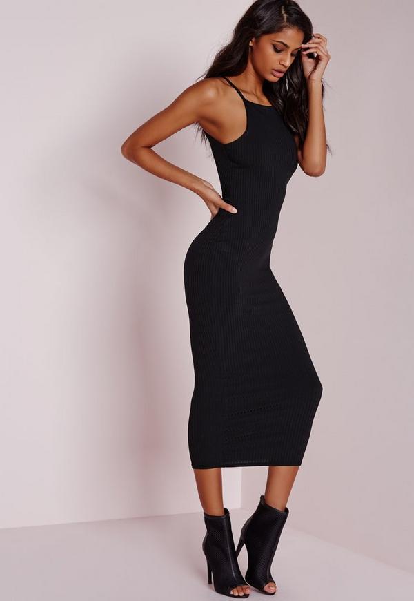 Ribbed Square Neck Midi Dress Black