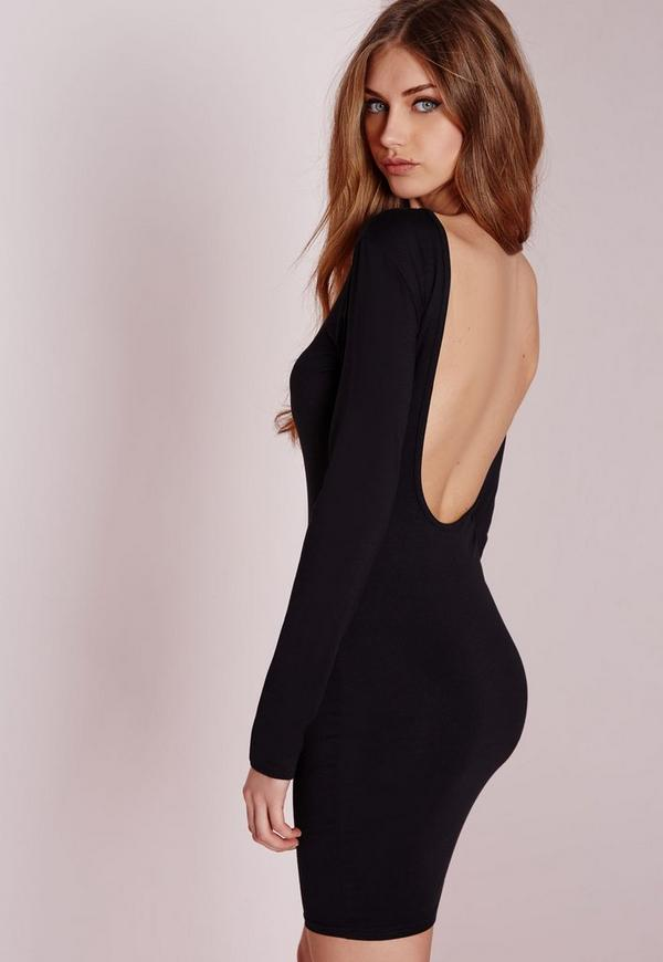 Jersey Scoop Back Bodycon Dress Black