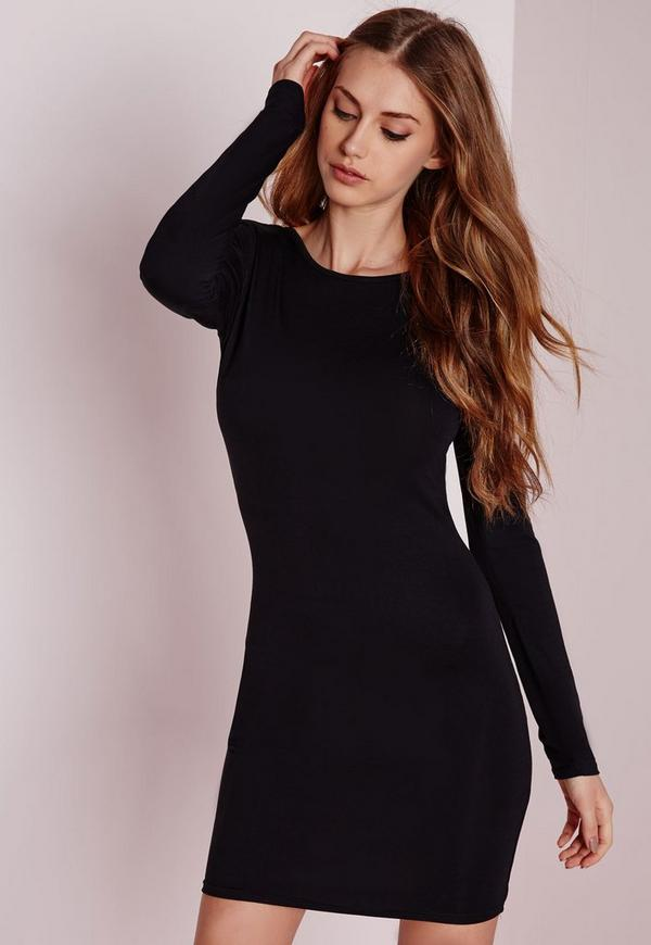robe moulante noire en jersey dos chancr missguided. Black Bedroom Furniture Sets. Home Design Ideas
