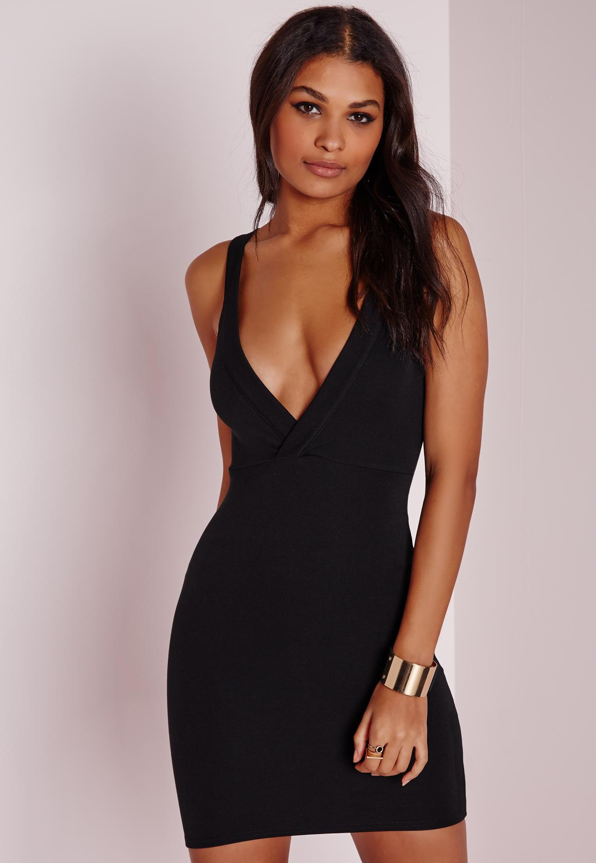 Ponte Plunge Bodycon Dress Black | Missguided