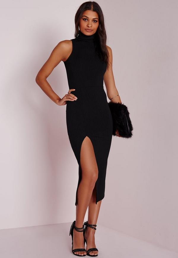 Ribbed Turtle Neck Midi Dress Black