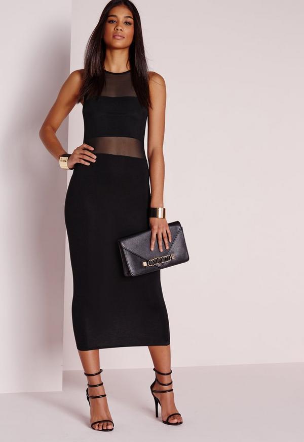 Jersey Mesh Insert Midi Dress Black