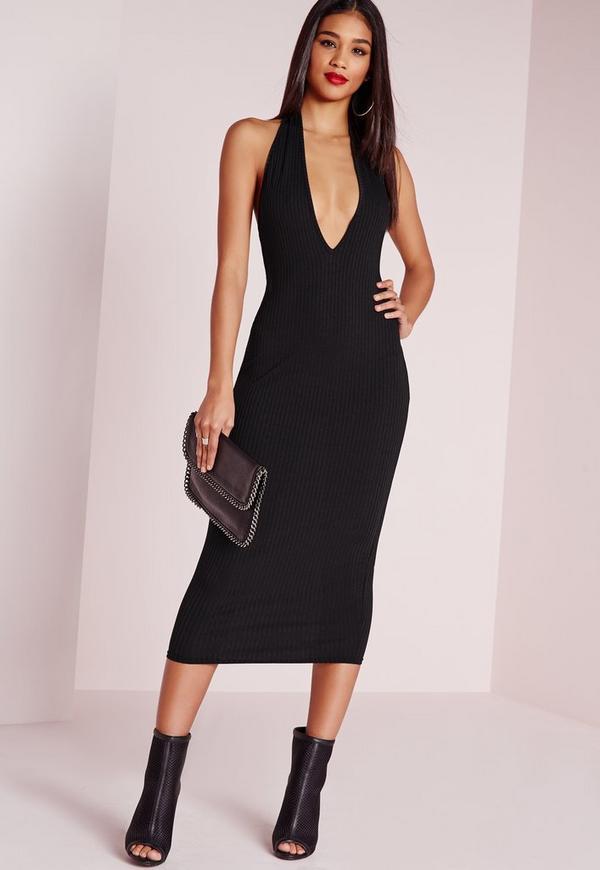Ribbed Halter Neck Midi Dress Black