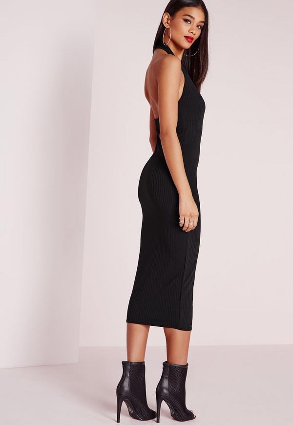 Ribbed Halter Neck Midi Dress Black Missguided