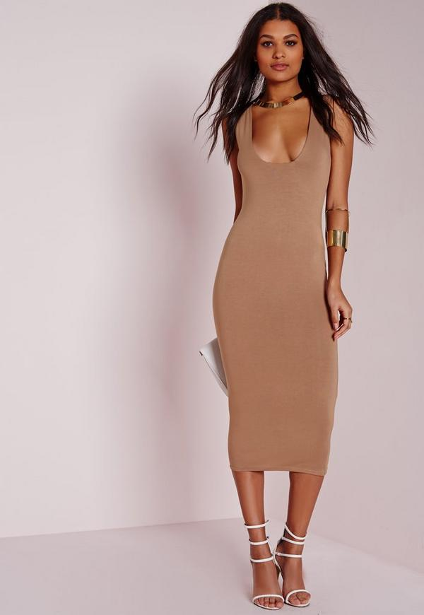 Jersey Square Bust Midi Dress Camel