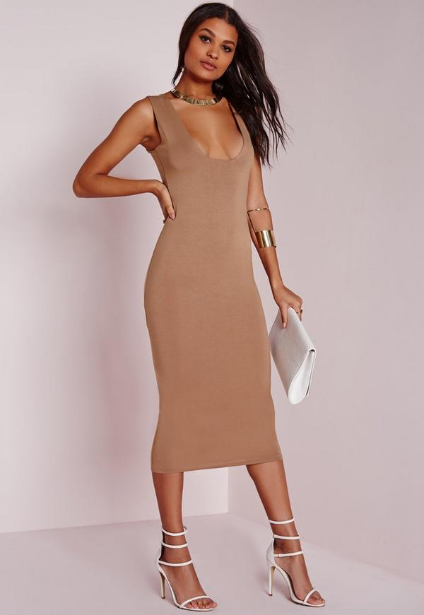 6aeca30414 Jersey Square Bust Midi Dress Camel. €21.00. Previous Next