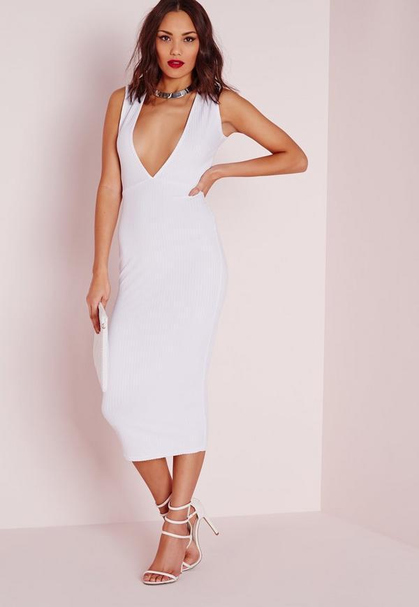 Plunge Ribbed Midi Dress White
