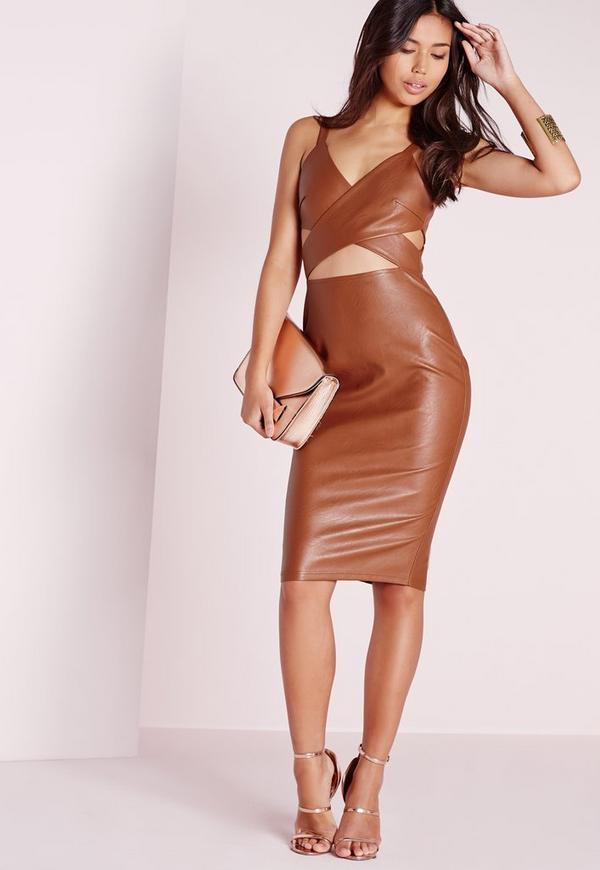 Faux Leather Cut Out Midi Dress Brown