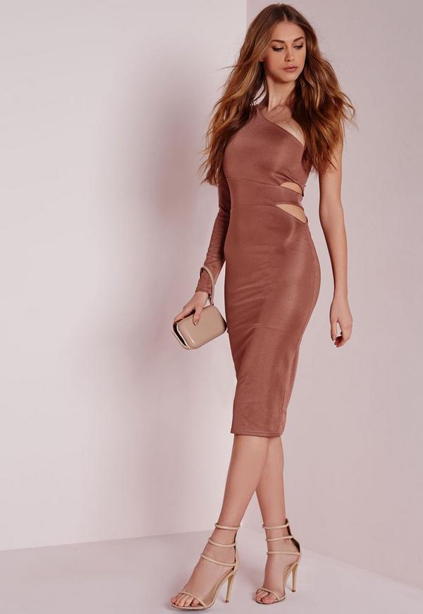 Asymmetric Cut Out Midi Dress Pink